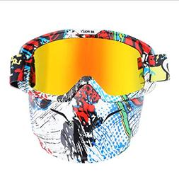 INOOY Tactical Mask Retro Motorcycle Goggles Detachable Mask