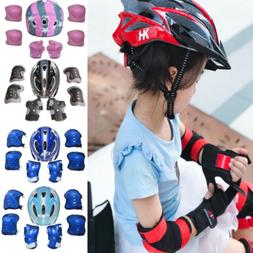 US Kids Boy Girl Safety Helmet Knee Elbow Pad Sets For Cycli