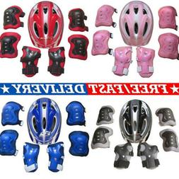 USA Boys Girls Kids Safety Helmet & Knee & Elbow Pad Set For