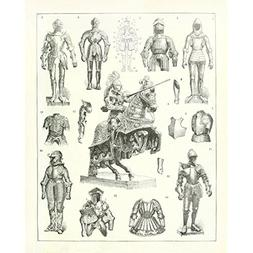 Meishe Art Vintage Poster Print Warrior Helmet and Armour Kn