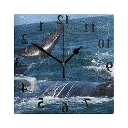 Chu warm Wall Clock Black Whale at Sea Silent Non Ticking De