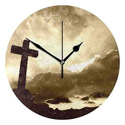 HangWang Wall Clock Religious Christian Silent Non Ticking D