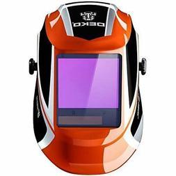 DEKOPRO Welding Helmet Auto Darkening Solar Powered wide vie