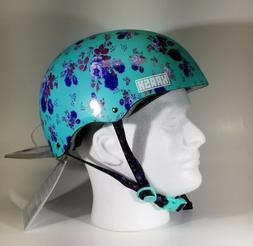 Krash Youth Multi-Sport Helmet Ages 8-14 Teal Floral Bike Sk